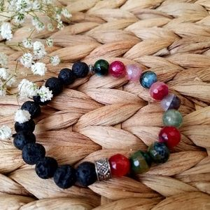 Lava stone and agate beaded bracelet